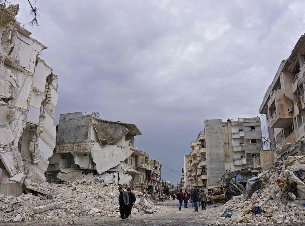 The jihadist-held city of Idlib on 14 March, which has been destroyed in airstrikes