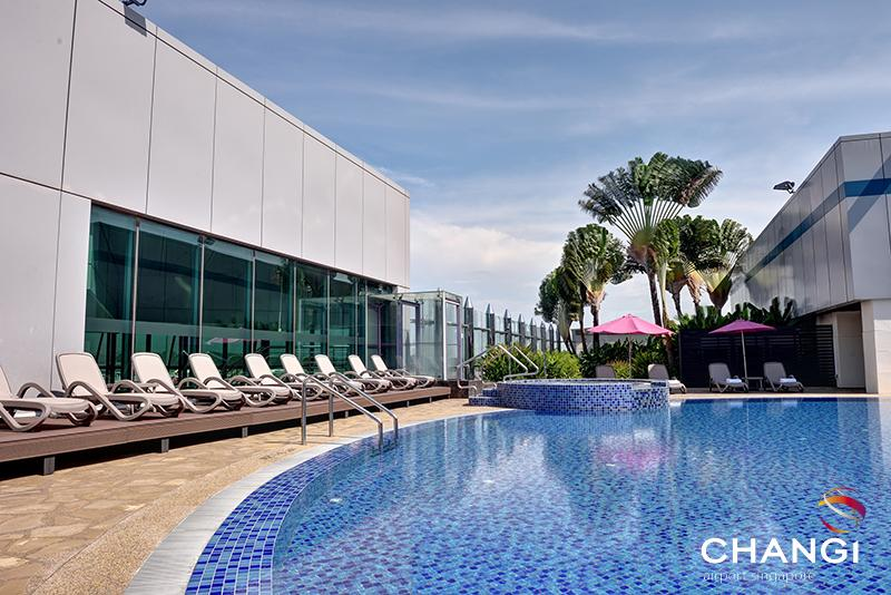The rooftop swimming pool at Changi Airport, Singapore