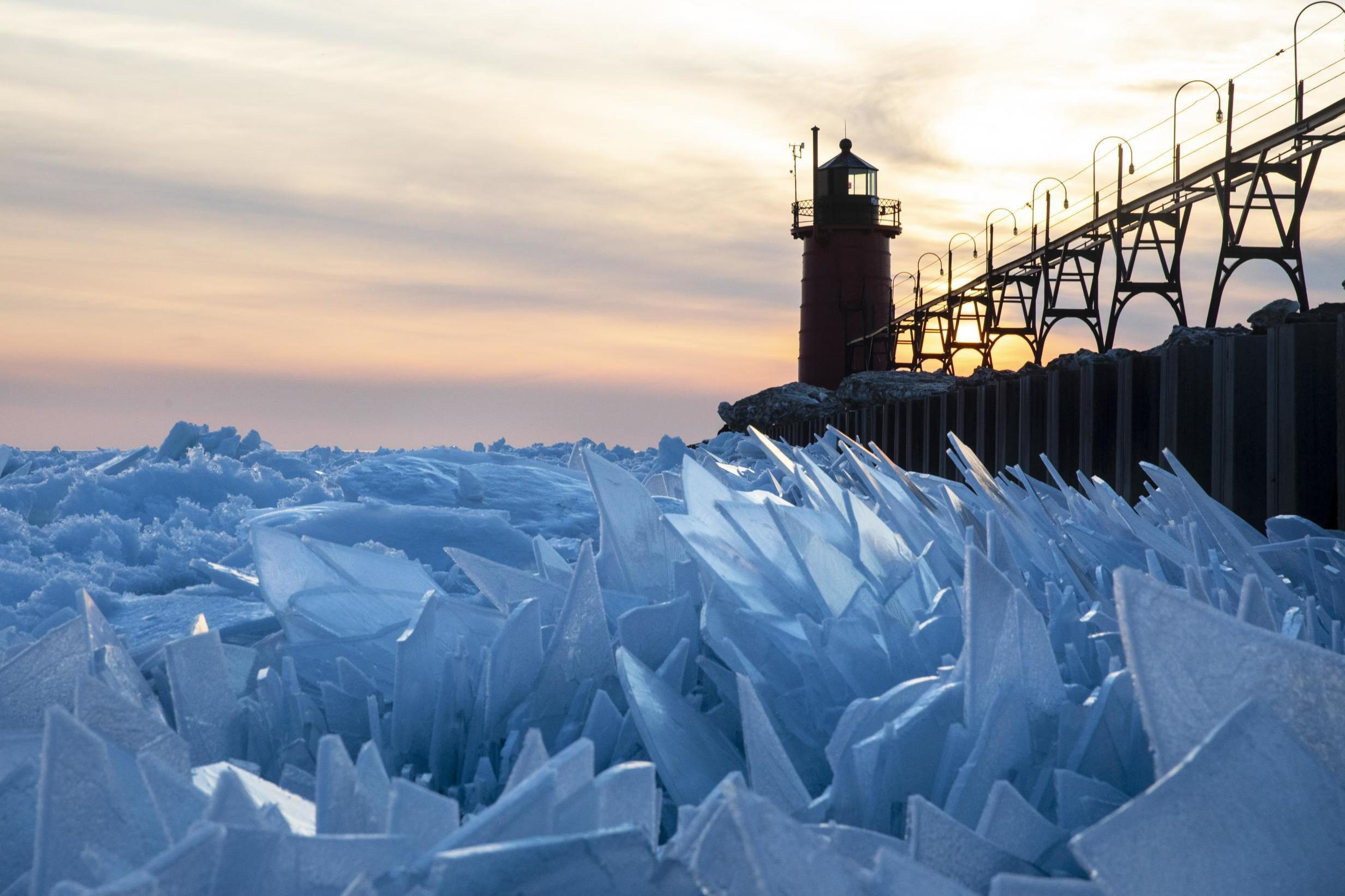 Lake Michigan is covered in shards of ice and it is mesmerising
