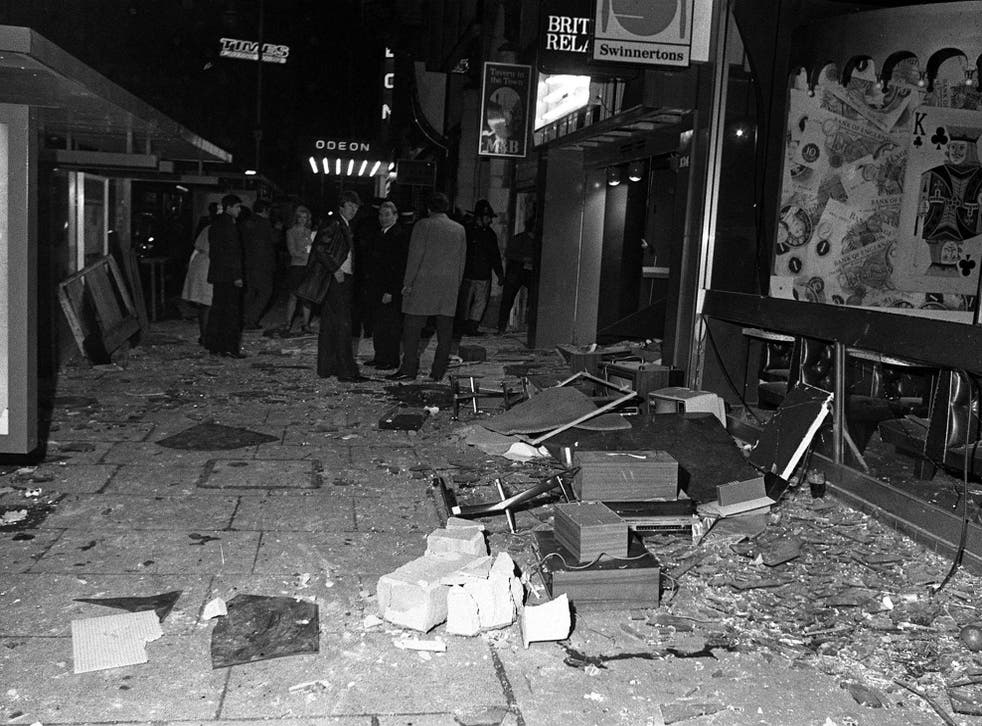 Bomb damage near the Tavern in the Town in New Street on 21 November 1974