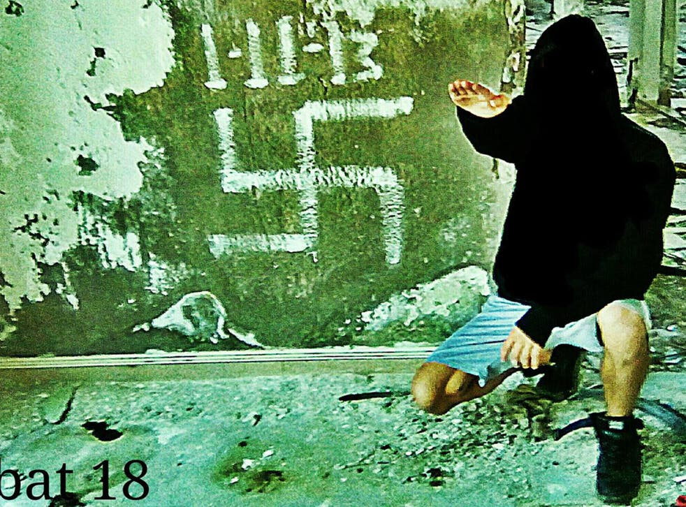 The cover photo on the Facebook page for the Greek branch of neo-Nazi group Combat 18, which was reported to Facebook but not removed
