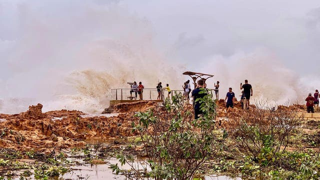 Huge waves brought by Cyclone Veronica crash on the coast in Port Hedland, Western Australia