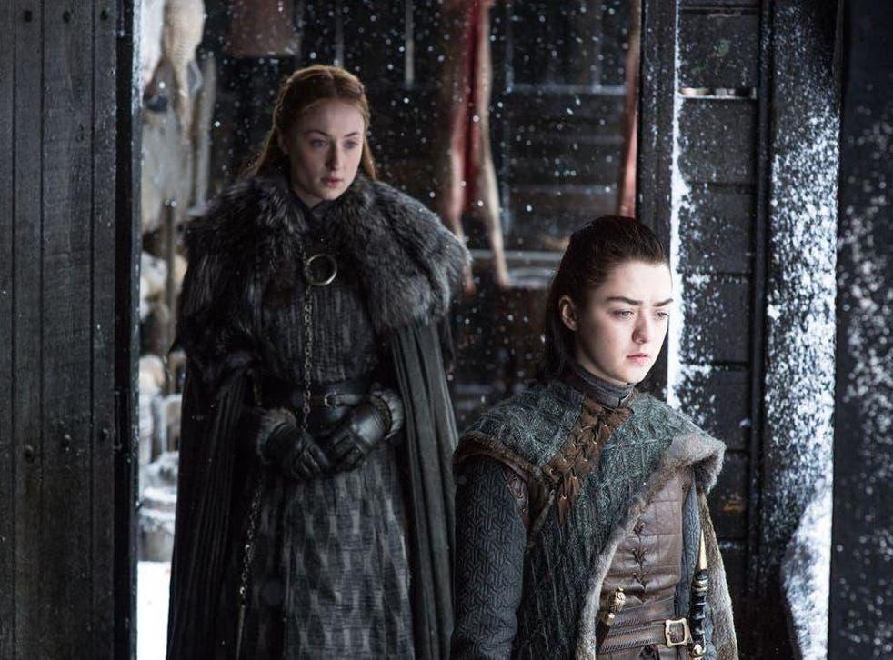 Sansa Stark (Sophie Turner) and Arya Stark (Maisie Williams) on 'Game of Thrones'