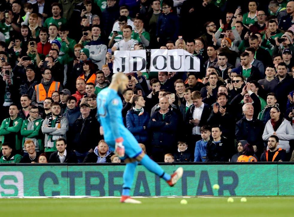 Ireland fans protest against FAI chief executive John Delaney