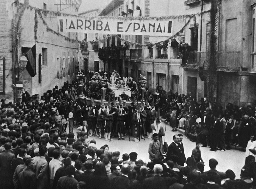 Pro-Franco crowds in Murcia, Spain, celebrate the end of the civil war in 1939