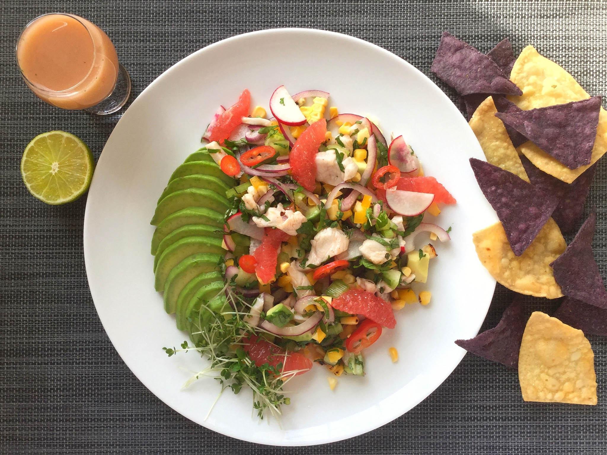 How to make sea bass ceviche with avocado and ruby grapefruit