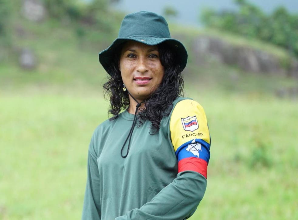 Luz Marina, in the FARC uniform she used to wear, now works for the reintegration camp