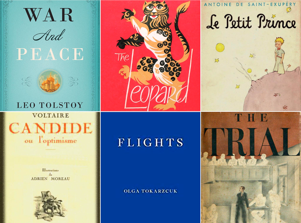Left to right clockwise: War and Peace, The Leopard, Le Petit Prince, The Trial, Flights and Candide