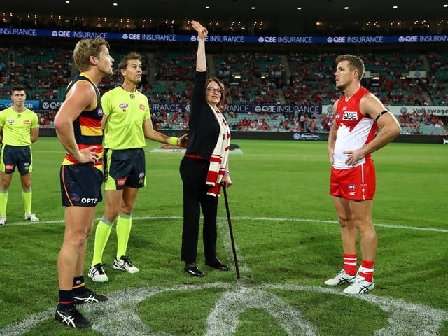 Double-amputee Cynthia Banham was the guest coin-tosser for the tie between Sydney Swans and Adelaide Crows