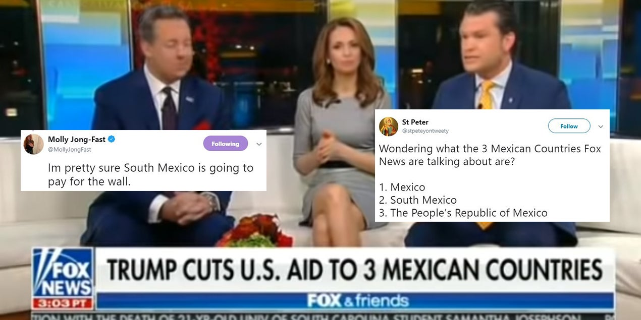 Fox News display graphic saying 'Trump cuts US aid to 3