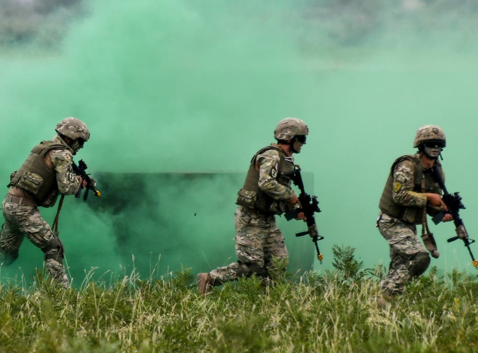 Georgian soldiers take part in joint exercises with Nato in 2018