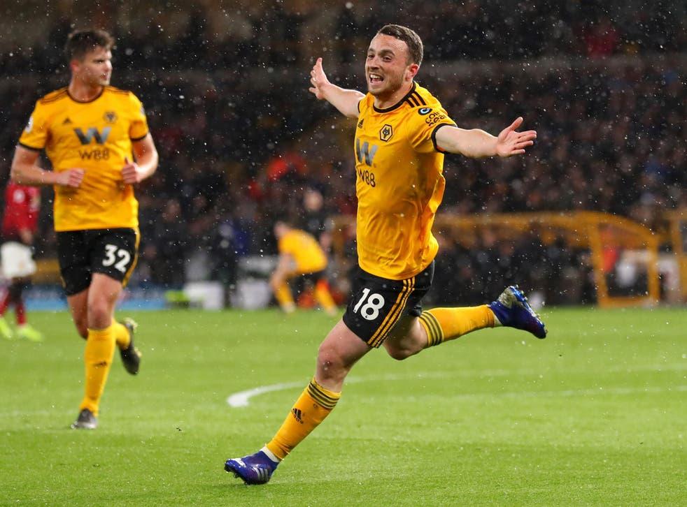 Diogo Jota celebrates scoring Wolves' first-half equaliser