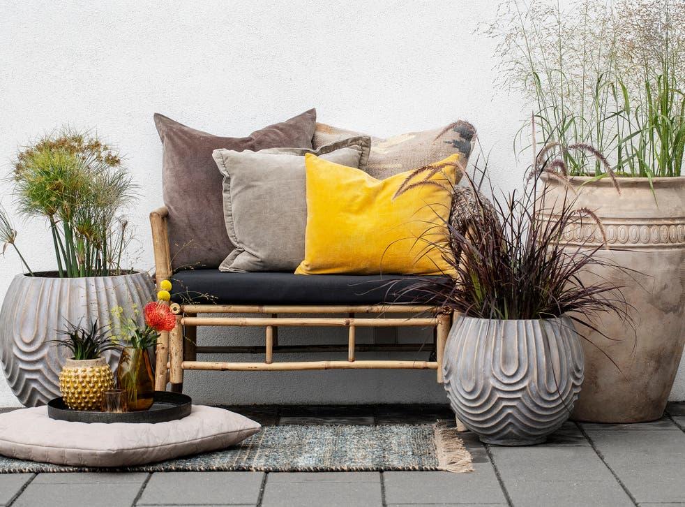Deep ochre velvet cushion