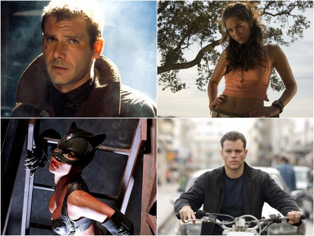 Clockwise from top right: Harrison Ford in Blade Runner, Megan Fox in Transformers, Matt Damon in The Bourne Ultimatum, and Halle Berry in Catwoman