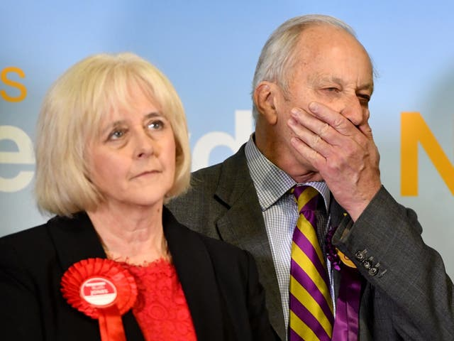Labour victor Ruth Jones and Ukip candidate Neil Hamilton, who finished third, react as the result was announced yesterday