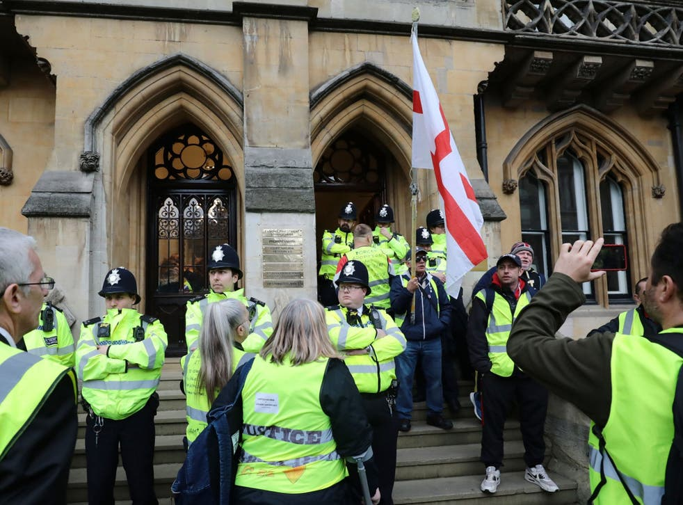 The incident (not pictured) came at a weekly 'yellow vest' demonstration in London