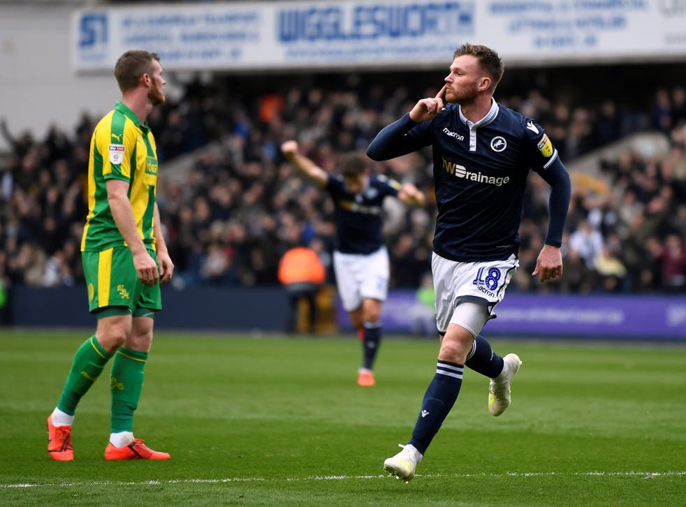 Ryan Tunnicliffe celebrates opening the scoring for Millwall