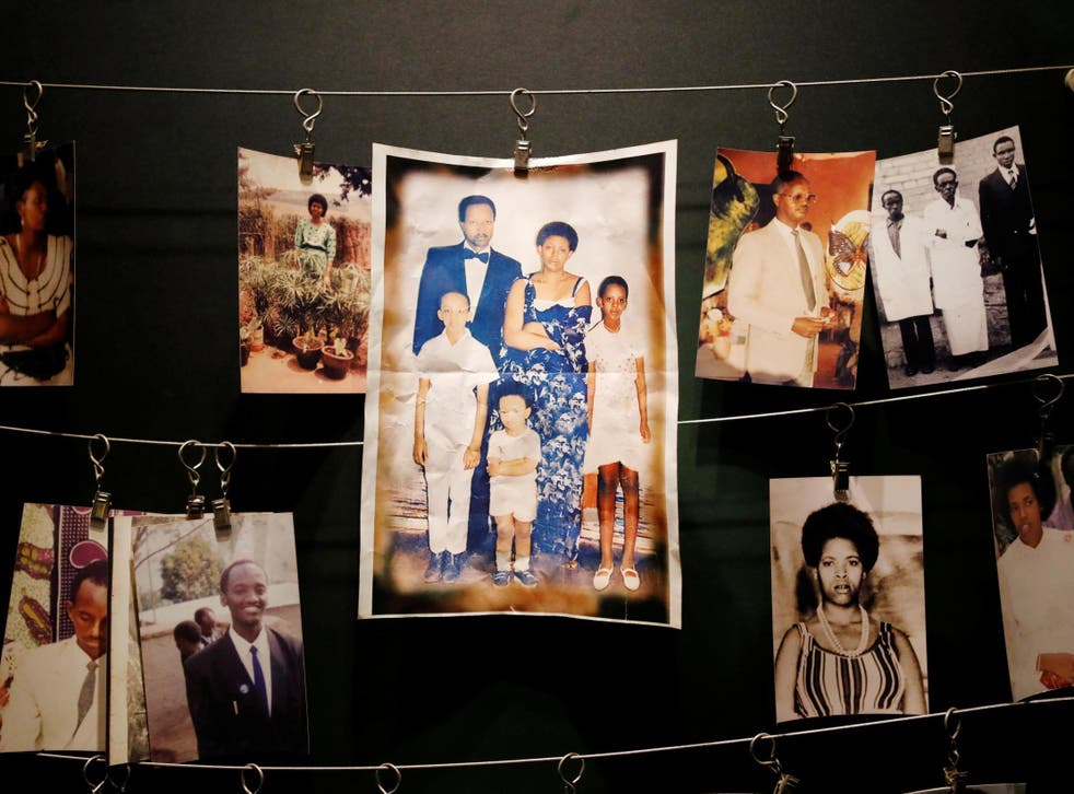 Pictures of the Rwandan Genocide victims donated by survivors are displayed at an exhibition at the Genocide Memorial in Gisozi in Kigali, Rwanda 6 April 2019