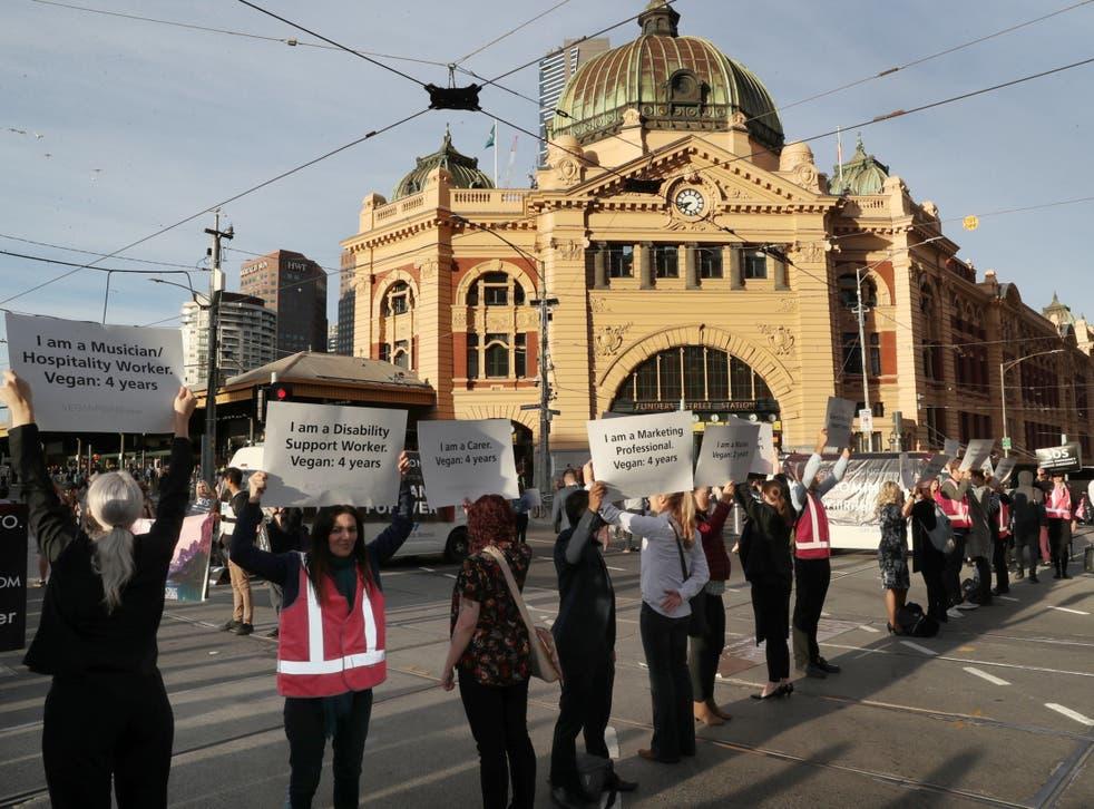 Animal rights protesters block the road in Melbourne in April