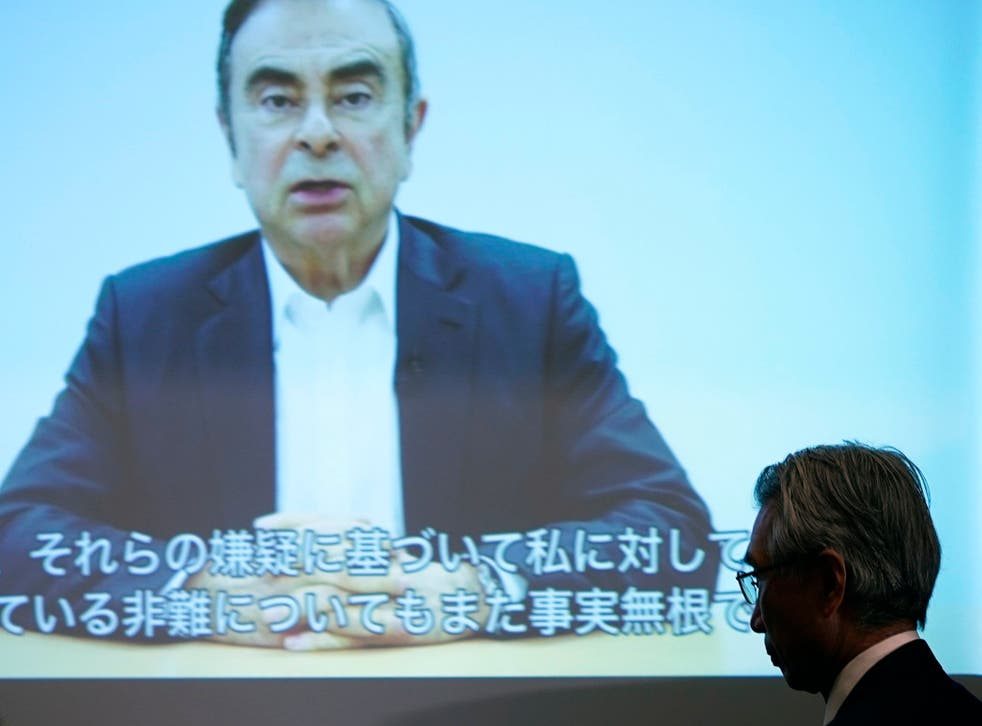 Mr Ghosn issued an eight-minute video statement alleging that he had been set up by a 'conspiracy'