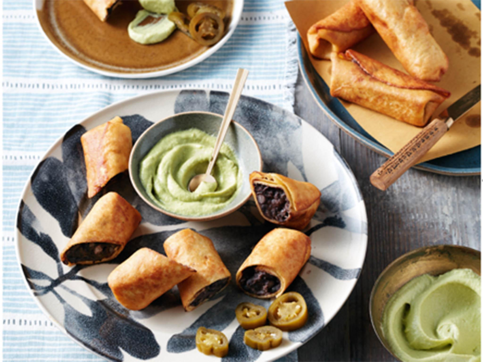How to make mini black bean chimichangas with avocado dip 1