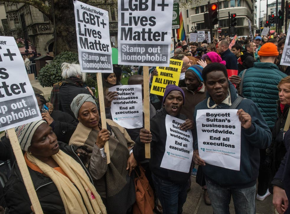 LGBT activists protest against the Sultan of Brunei who has ratified a law to make homosexuality punishable by stoning, at the Dorchester Hotel on April 6, 2019 in London, England.