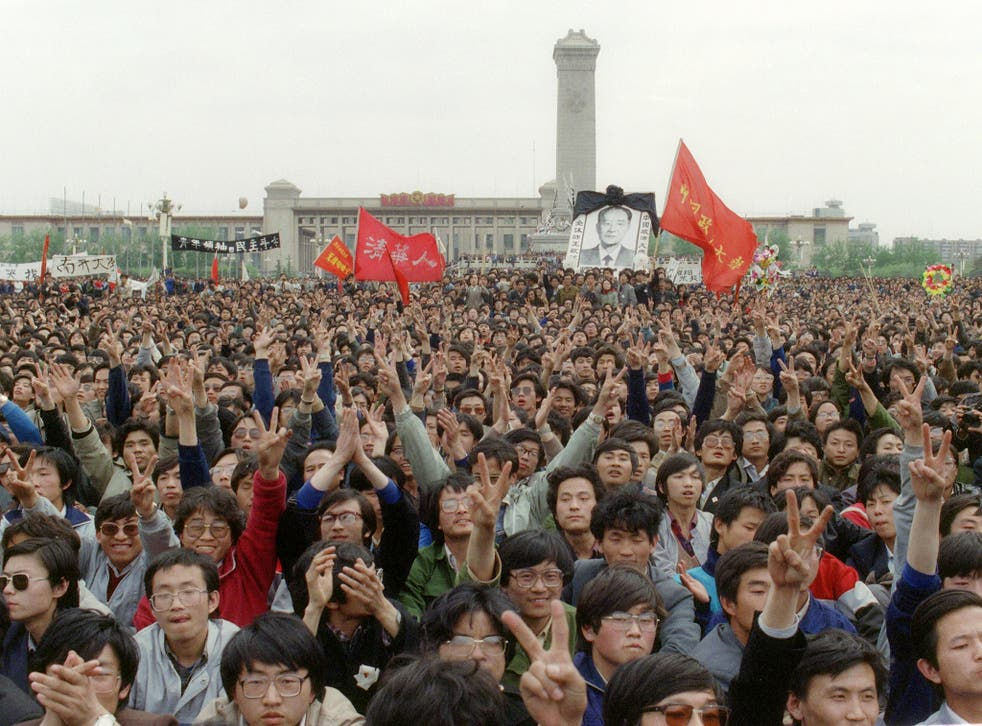 Students participate at the Tiananmen Square protests in Beijing which began on 15 April 1989