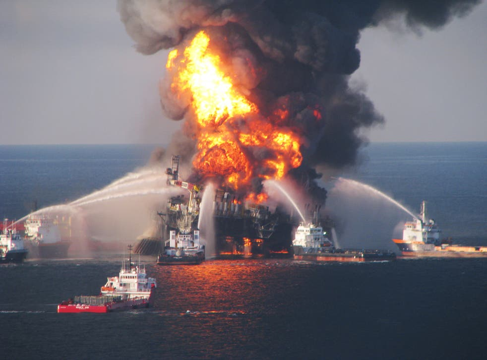 Fire boat response crews battle the blazing remnants of the BP Deepwater Horizon oil rig, which exploded in the Gulf of Mexico in 2010