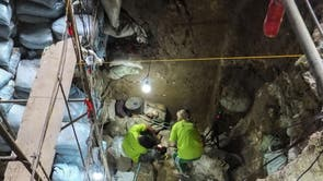 The excavation team at work in Callao Cave on Luzon Island