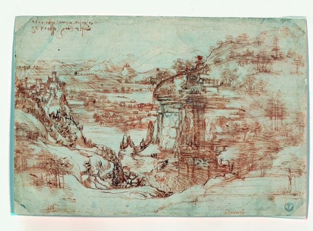 Infrared light is shone onto Landscape (8P), 1473, done by Leonardo da Vinci, during tests in Florence, Italy