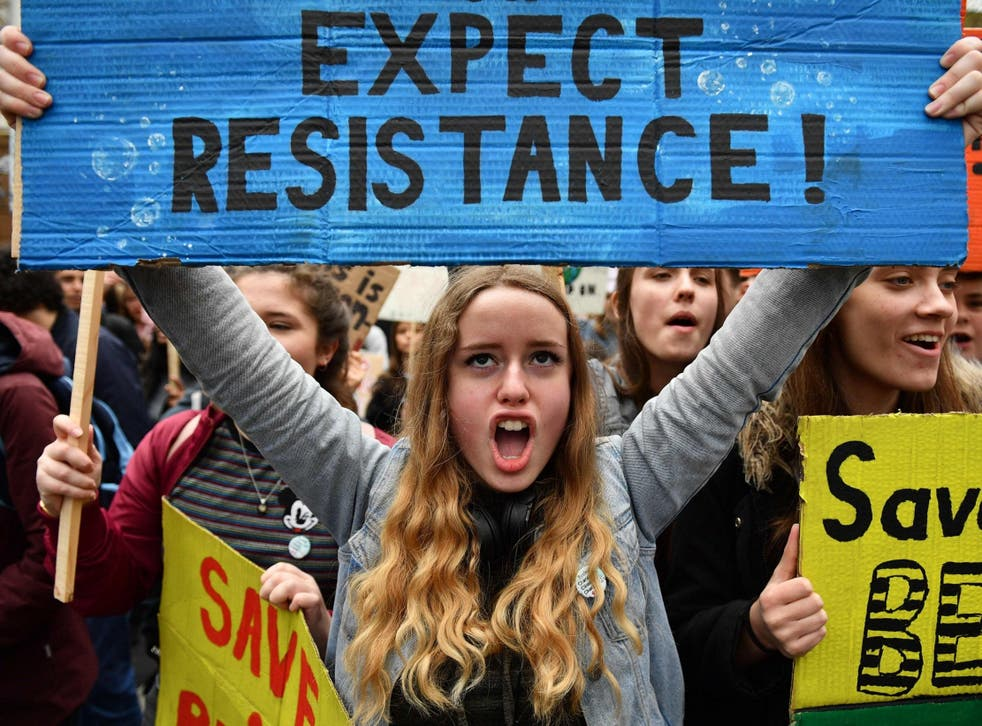 Students at the YouthStrike4Climate demonstration against climate change in London's Parliament Square