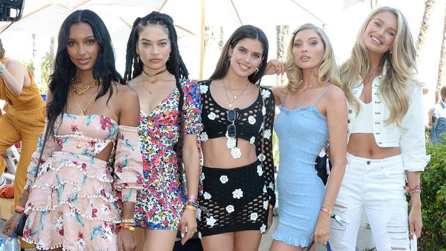 Models Jasmine Tookes, Shanina Shaik, Sara Sampaio, Elsa Hosk, and Romee Strijd were seen enjoying the festivities together at a Coachella party hosted by fashion brand REVOLVE.