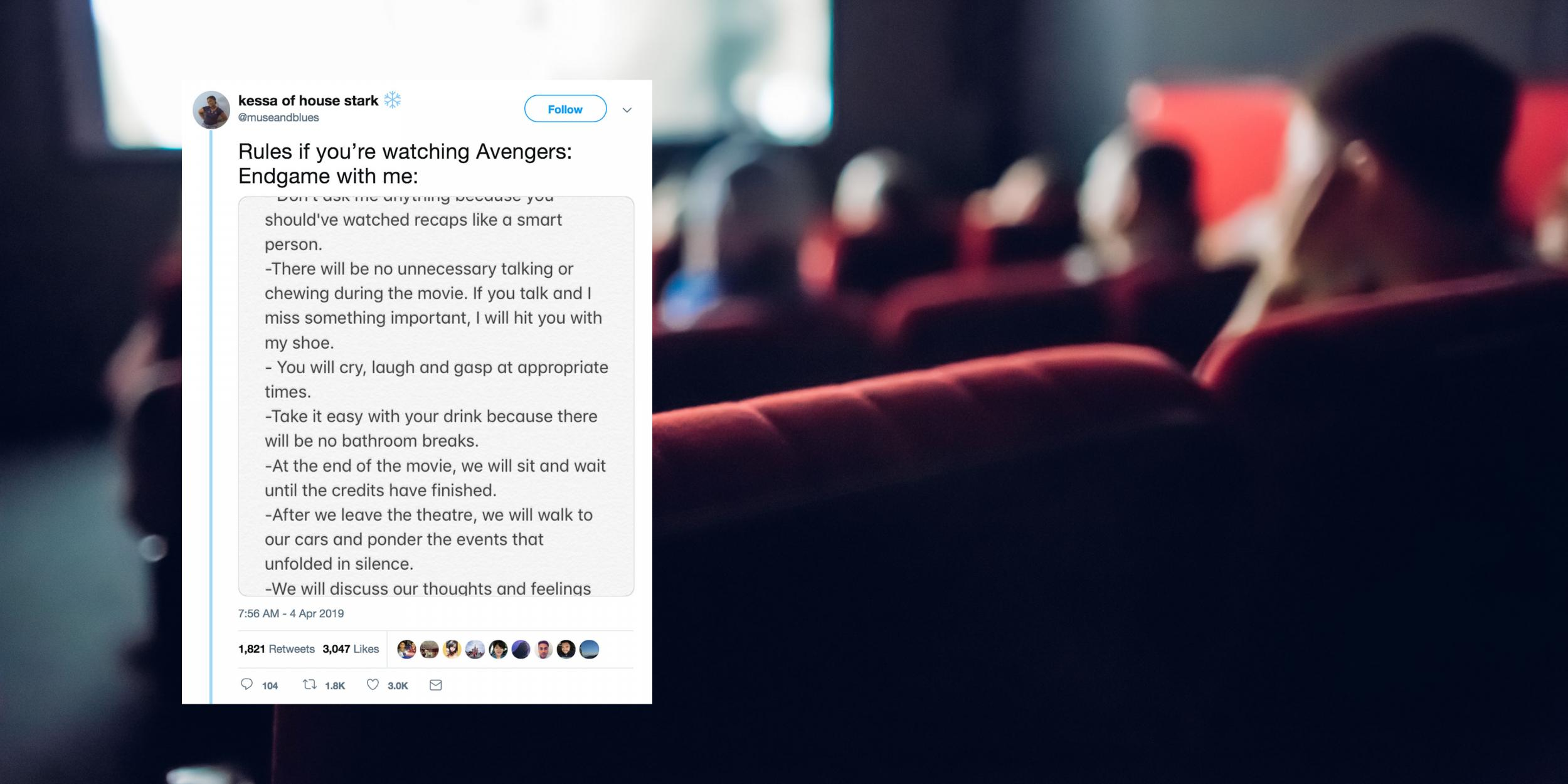 This 'how to watch Avengers: Endgame' rule book is too intense for