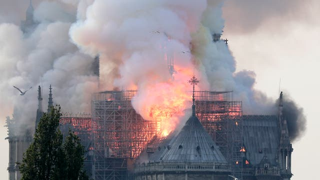Flames on the roof of the Notre-Dame Cathedral in Paris, France, 15 April 2019. A fire started in the late afternoon in one of the most visited monuments of the French capital.