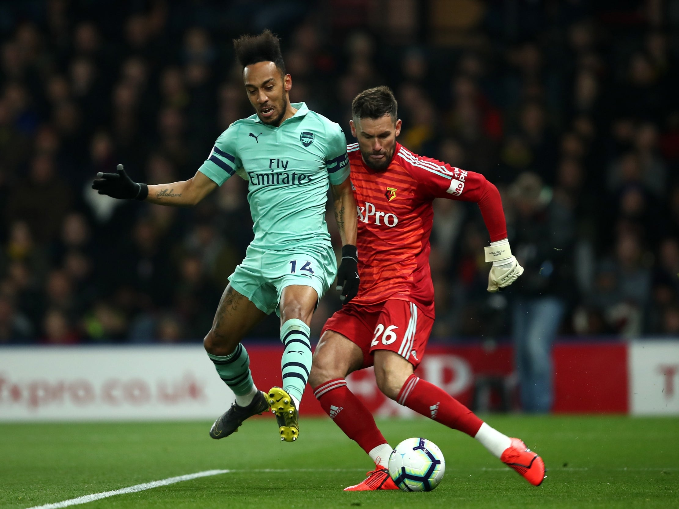 Watford Vs Arsenal Result Pierre Emerick Aubameyang Pounces On Ben Foster Error To Earn Vital Points The Independent