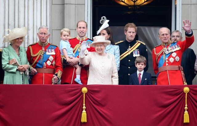 <p>The royal family watch the fly-past from the balcony of Buckingham Palace</p>