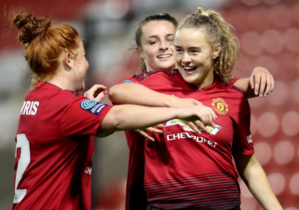 85441cd77c7 Manchester United Women win promotion Super League after thrashing ...