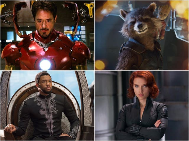 Clockwise from top right: Iron Man, Rocket and Groot, Black Widow, and Black Panther
