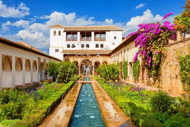 Alhambra Palace is surrounded by the Sierra Nevada mountains, and was primarily constructed over the reigns of three different Spanish Moors between the 13th and 14 century