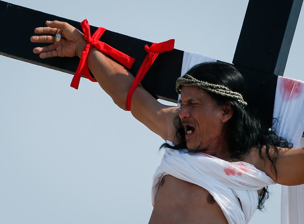 One of the worshippers who took part in the ritual