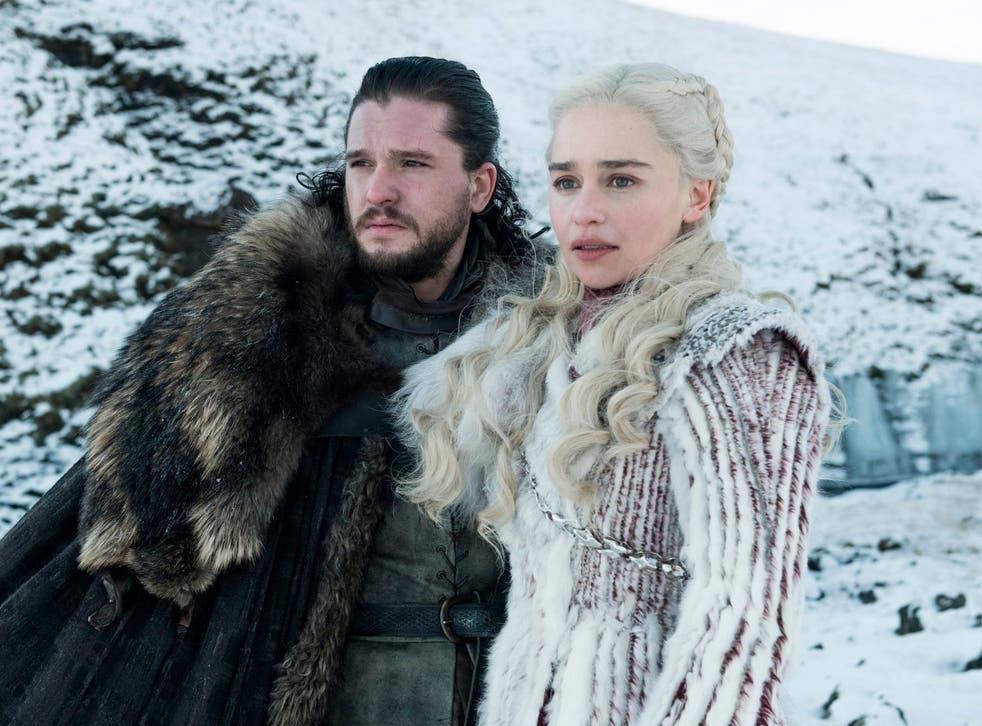 Jon Snow (Kit Harrington) and Daenerys Targaryen (Emilia Clarke) in a scene from season eight of 'Game of Thrones'