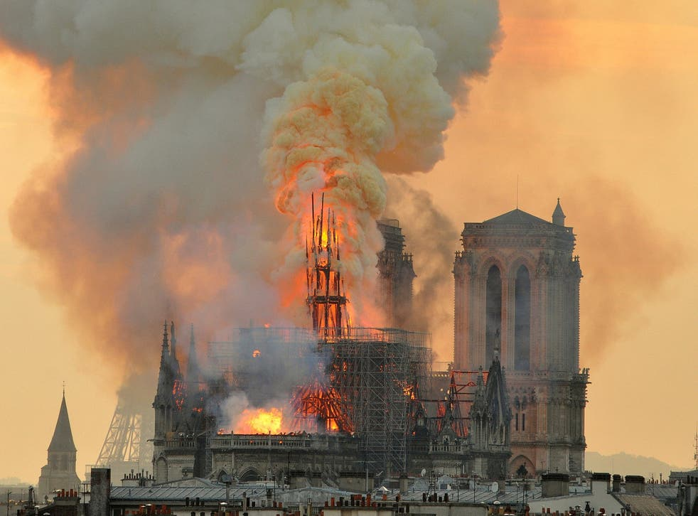 Nine centuries of history came crashing down in just over an hour on Monday