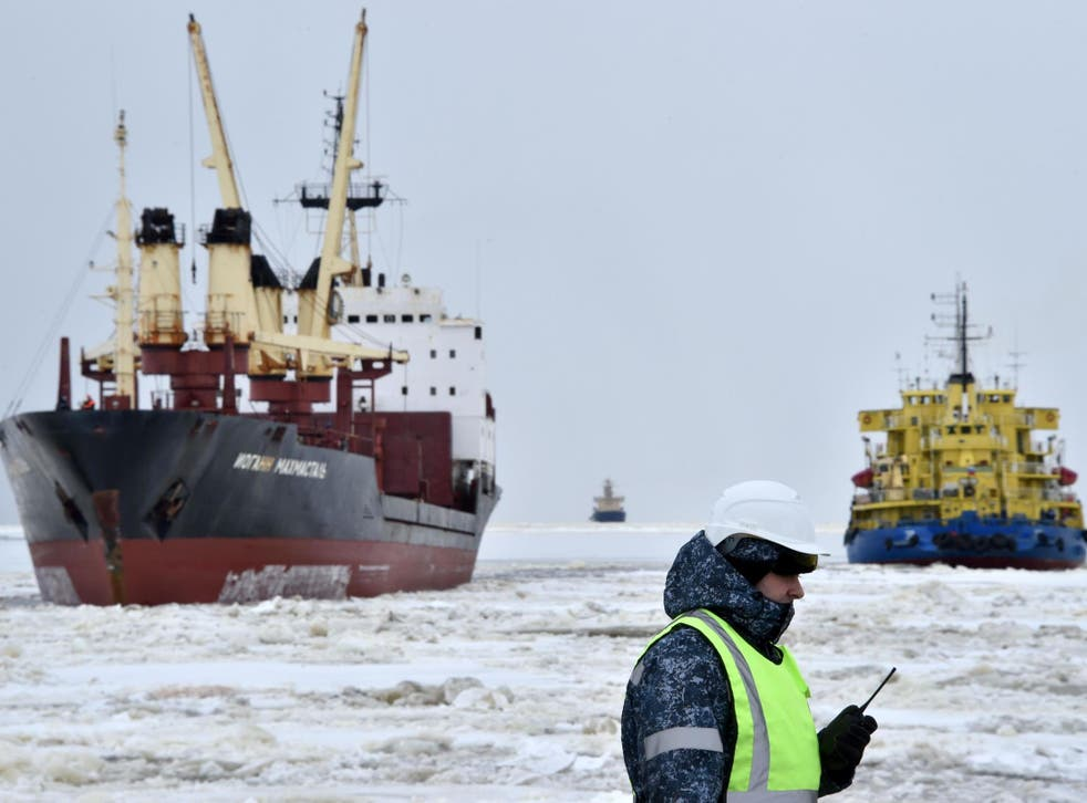 Russian icebreaker at Sabetta port in the Arctic circle, 2,450km north of Moscow