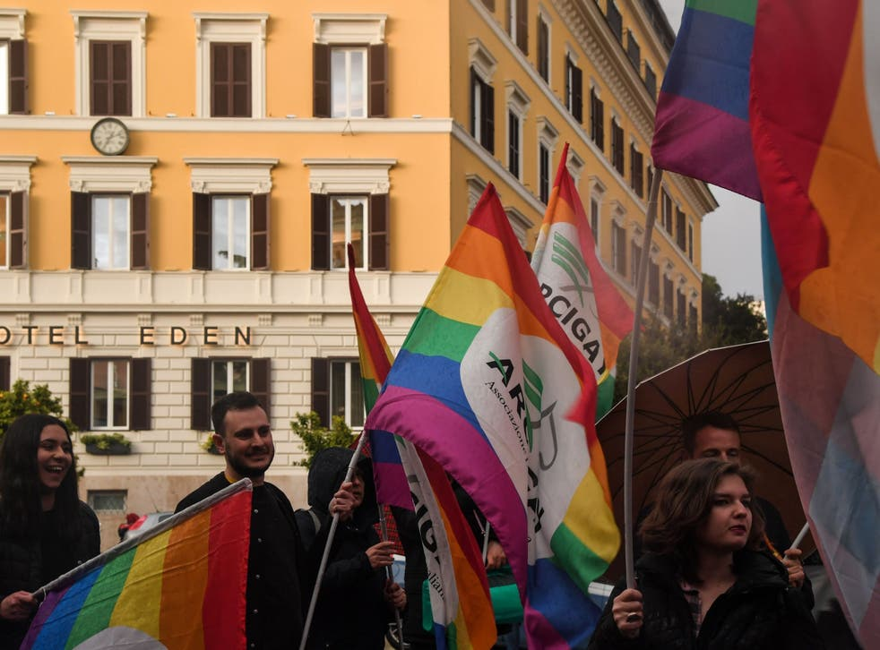 Activists in Rome protest outside a hotel owned by Brunei