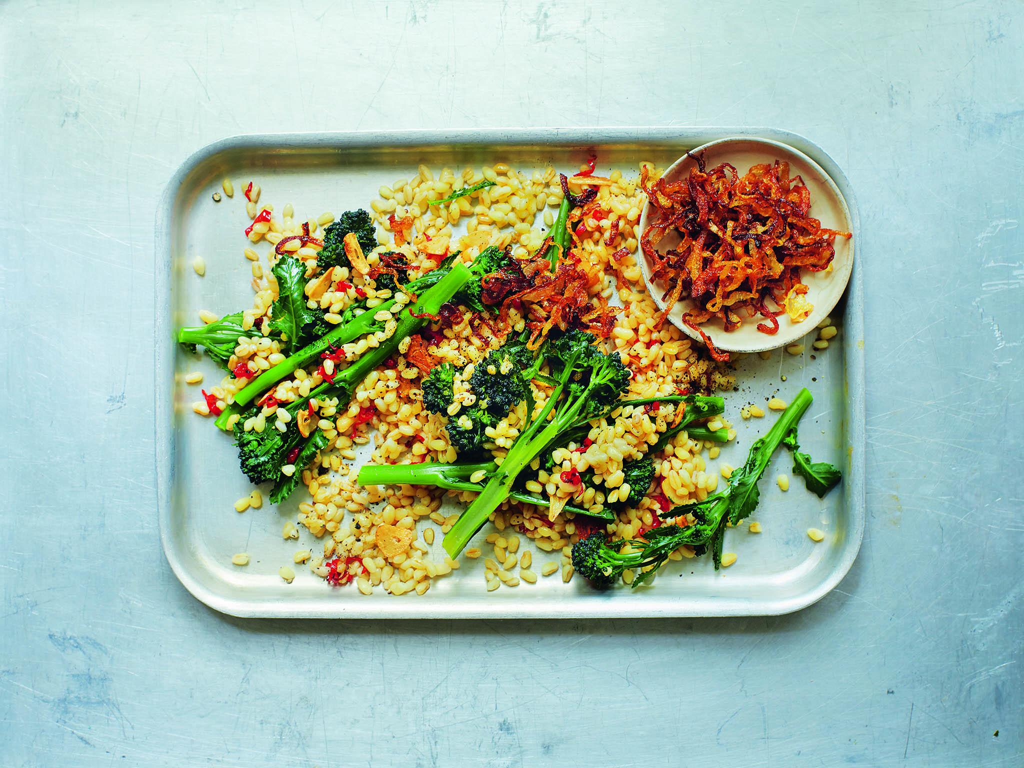 How to make wheatberries and purple sprouting broccoli with crispy garlic and chilli 1