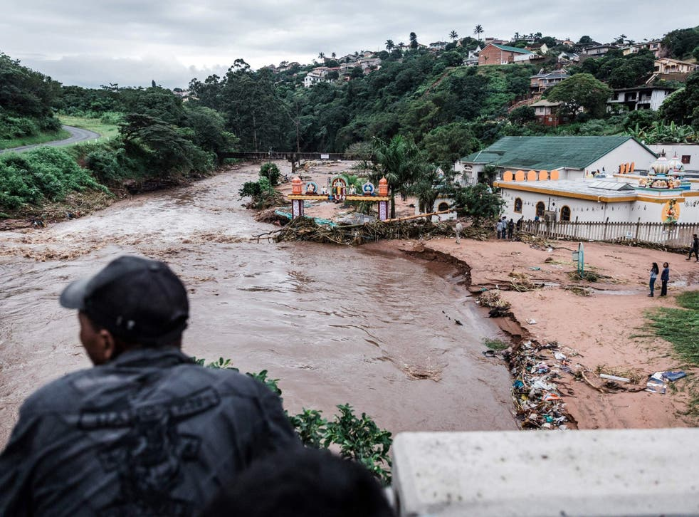 The Umhlatuzana Hindu Temple, south of Durban, in the province of KwaZulu-Natal, in South Africa, damaged after heavy rain and flash floods following torrential downpour on 23 April 2019.