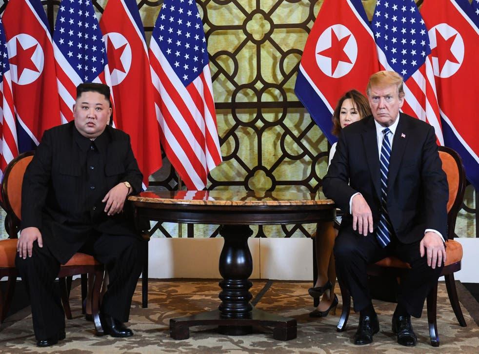 Donald Trump and Kim Jong Un at the US-North Korea summit n Hanoi on February 28, 2019.