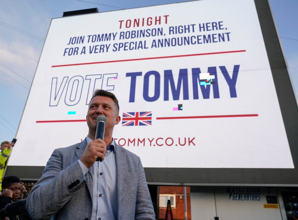 Tommy Robinson at a barbecue rally in Wythenshawe on Thursday