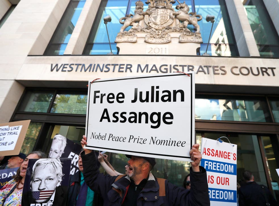 Pro-Assange protesters outside Westminster Magistrates' Court today