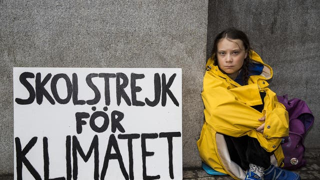 In the protest that started a movement, Greta skips school to sit outside of the Swedish parliament in Stockholm in order to raise awareness of climate change on 28 August 2018